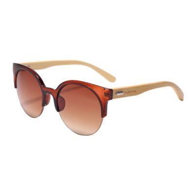 Foster 1035-2 Clubmaster Round Tinted Sunglasses Brown