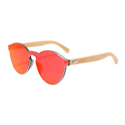 Riverside 312M-5 Classic Round Mirrored Sunglasses Fire Red