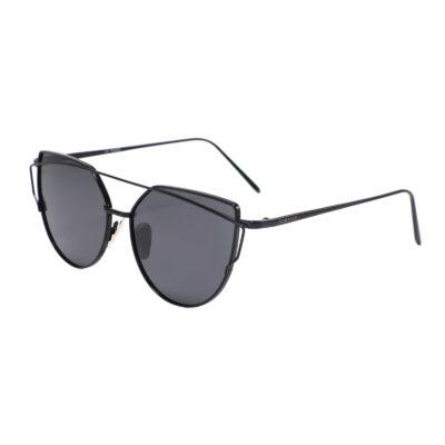 Selma 2202-1 Round Rectangular Polarized Tinted Sunglasses Black