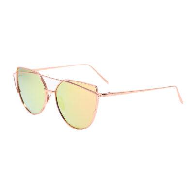 Selma 2202M-10 Round Rectangular Polarized Mirrored Reflective Sunglasses Rose