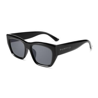 Miami 2309-1 Rectangular Cat Eye Polarized Tinted Sunglasses Black