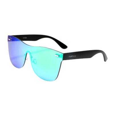 Santa Barbara F1002M-1 Frameless Rectangular Oversized Mirrored Sunglasses Blue