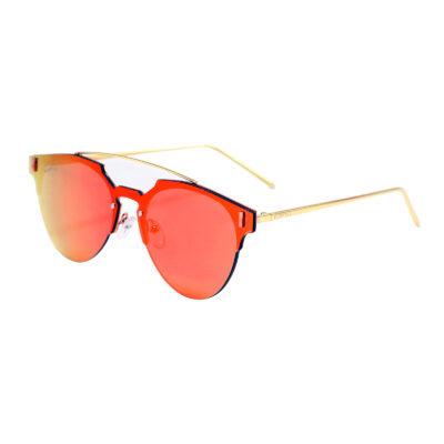 Tracy F1005M-5 Frameless Clubmaster Mirrored Reflective Sunglasses Orange