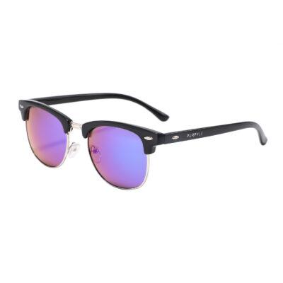 Fulton St 1608M-1 Clubmaster Mirrored Reflective Sunglasses Blue