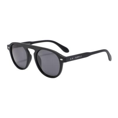 Florence 1697-1 Round Aviator Polarized Tinted Sunglasses Black
