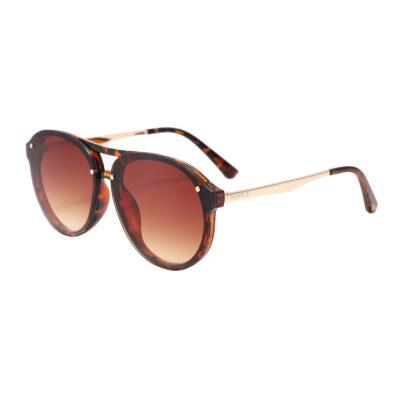 Industry 2134-2 Double Bridge Aviator Tinted Sunglasses Tortoise Brown