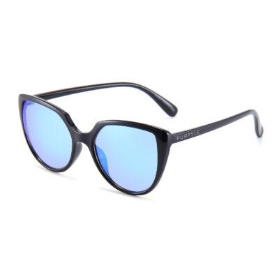 Venice 1690M-4 Oversized Cat Eye Polarized Mirrored Reflective Sunglasses Blue