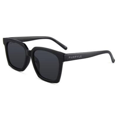 Paige 1683-1 Oversized Square Polarized Tinted Sunglasses Black